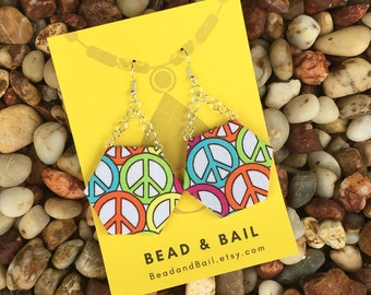 Fun neon colorful peace sign fabric earrings with silver chain