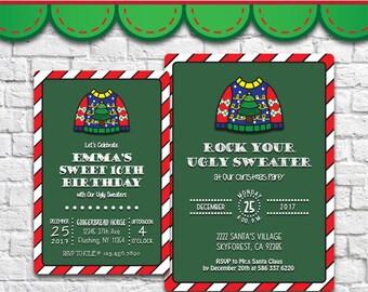 Ugly Sweater Invitation - PDF JPG DOC Instant Download Printable Digital File