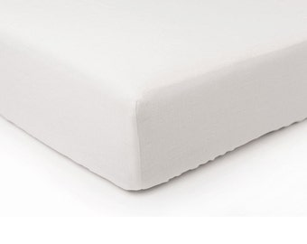 White linen fitted sheet, Queen bed sheets, King sheets, Double Full or Twin size fitted sheets, White linen bedding