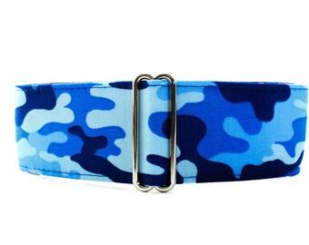 Camo Martingale Collar Greyhound Collar, Blue Martingale Collar, 2 inch Martingale Collar, Blue Dog Collar, Camo Dog Collar