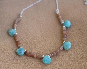 Amazonite and Sunstone Necklace