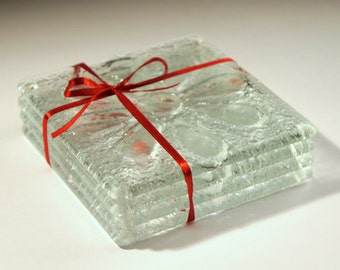 4 Clear Daisy Coasters-FREE UK SHIPPING-Set of 4 Fused Glass Coasters with Flower Design