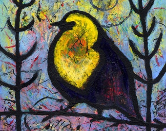 Black Bird Print - Yellow Chested Black Bird Art - He Felt The Light Go To His Heart by Lindy Gaskill