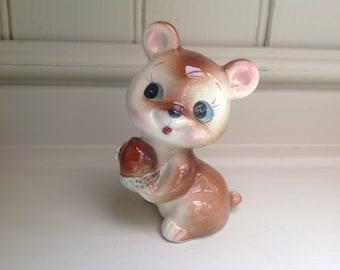 Vintage ceramic bear figure with acorn 1970s