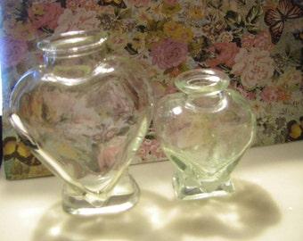 Set of TWO VTG. Heart Shape bottles
