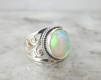Botanical Theme Opal And Sterling Silver Ring 77DH8E