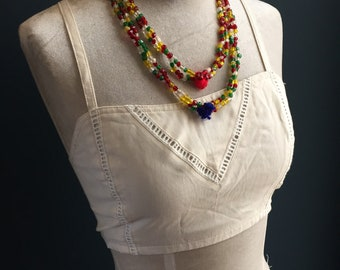 Banjara Gypsy Vintage Beaded Necklace, glass hand-cut beads,green whiite yellow red, wool pom-pom tassell, and clasps, 3 tiers.