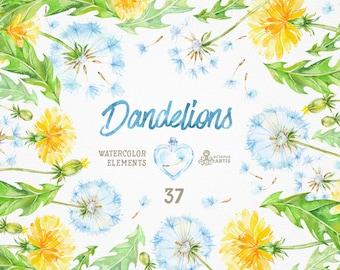 Dandelions 37 Watercolor Elements. Clipart, blowballs, floral wedding, invitation, greeting card, diy clip art, flowers, quote, love, jars