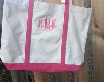 Monogrammed Canvas Tote Bag with zipper pocket inside