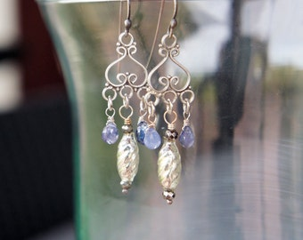 Antique Assemblage Earrings with Tanzanite Drops, Mercury Glass and Pyrite