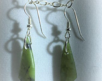 Chrysoprase Drop and Dangle Free Form Earrings - French Hook Sterling Silver Ear Wires - All Natural     E066