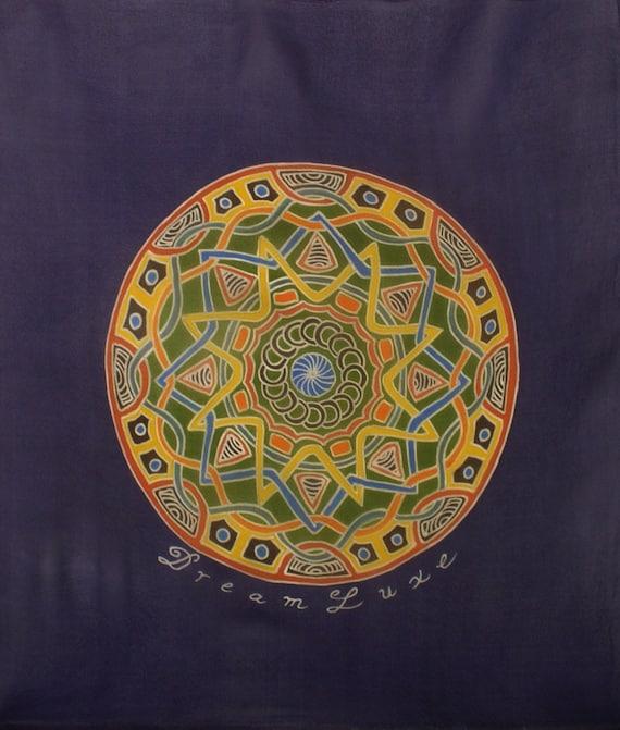 Mandala square chiffon silk scarf hand made luxury scarf