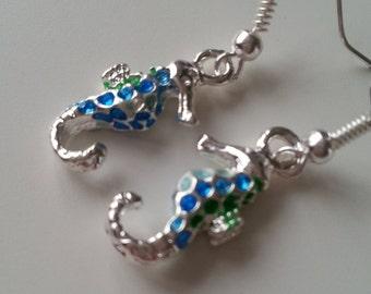 Cute, SEAHORSE, earrings, enamel, small seahorse earrings, seahorse earrings, sealife, 3d, ocean,  blue, green, by NewellsJewels on etsy