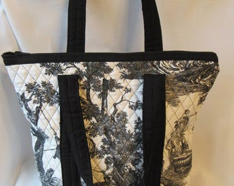 Waverly Black and White Quilted Toile Zippered Tote