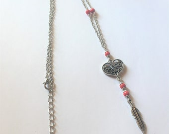 """The heart and Red Feather"" necklace"