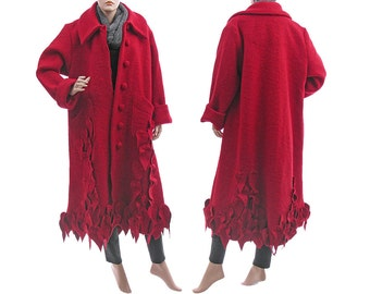 Boho long red wool coat, fall winter spring red maxi coat with leaves, lagenlook red boiled wool coat plus size women L XL, US size 16-20