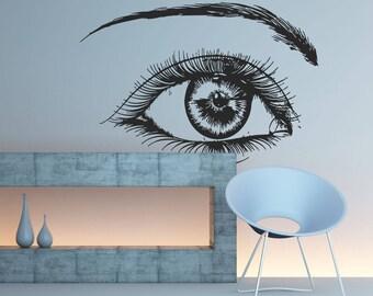 Girls Eyelashes Wall Decal, Eyelashes Eye Wall Sticker, Eye Eyebrows Wall Decor, Beauty Salon Logo Decor, Make Up Room Wall Decor Art se123