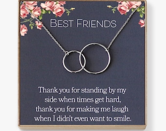 Best Friend Necklace: BFF Necklace, Best Friend Gift Jewelry, Long Distance, Quotes, Friends Forever, 2 Interlocking Circles