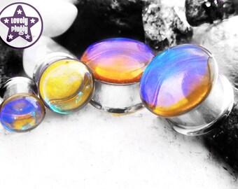"Photon Colour Flash Plug / Gauge Yellow Blue Teal Translucent Faux Dichro Dichroic 1/2"", 9/16"", 5/8"", 11/16"" / 12mm, 13mm, 14mm, 16mm, 18mm"