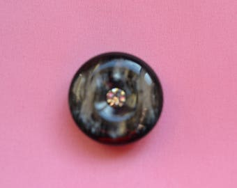 set of 6 buttons couture black and rhinestone