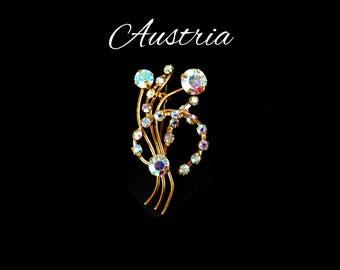AUSTRIA Aurora Borealis Rhinestone Brooch, Blue AB Flower Brooch, Bridal Bouquet, Lapel Hair Jewelry, Gift For Her, Gift for Teen