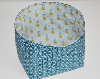 Storage basket / tray - Reversible - fabric pineapple / asanoha - tones multicolors