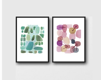 set of 2 prints, Abstract Watercolor paintings, emerald green pink pebbles, abstract art prints