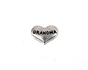 Grandma Floating Charm / Locket Charms / heart charm / Lockets