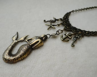 Handmade Brass Mermaid Assemblage Bib Necklace - NRU240
