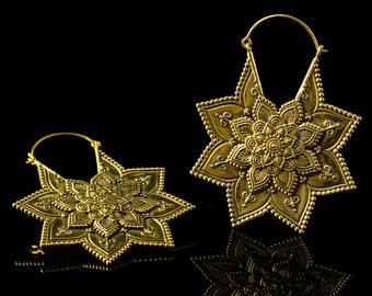 Mandala earrings lotus, ear weights, tribal flower hoops, 1mm 18g, brass gold hoop, wear with gauges tunnels plugs hippie yoga indian
