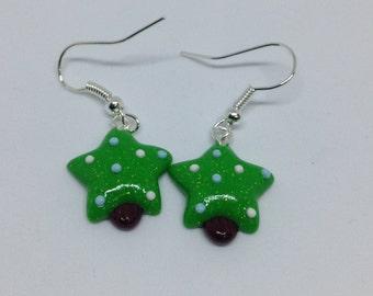 Blue and White Christmas Tree Dangle Earrings