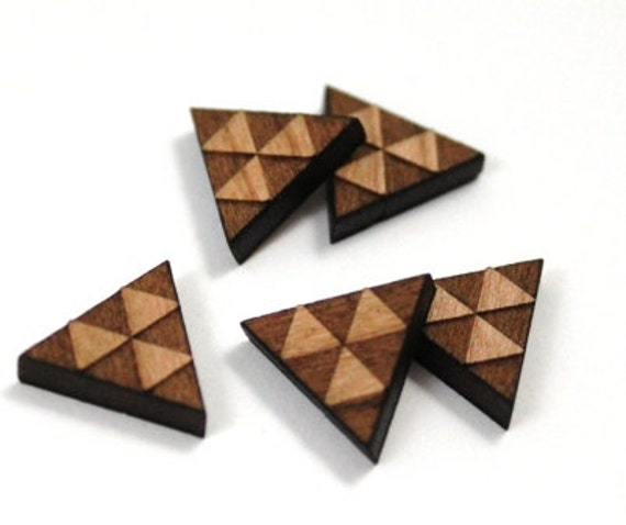Laser Cut Supplies- 8 Pieces.Triangle Pattern Charms - Laser Cut Wood -Earring Supplies-Little Laser Lab Sustainable Wood Products