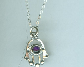 Sterling Hamsa Pendant with Amethyst and Chain - Evil Eye Protection