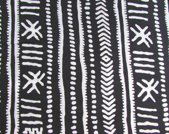 Fabric, Indian Cotton, quilting fabric, by the yard, Black and White printed fabric, Boho Tribal Print, Iight weight cotton, sewing fabric,
