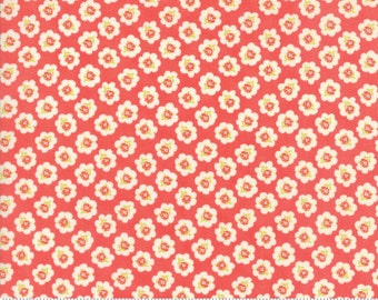"16"" piece/remnant - Coney Island - Cotton Blossoms in Candy Apple Red: sku 20281-12 cotton quilting fabric by Fig Tree and Co. for Moda"
