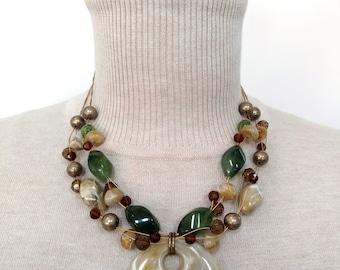 Marbleized Pendant Necklace