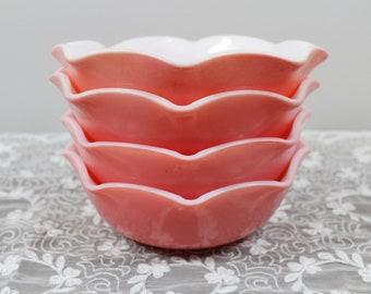 Vintage Hazel Atlas Pink Crinoline Ruffle Ripple Bowls Set of 4 Glass Glassware - Wedding Favor Tea Party