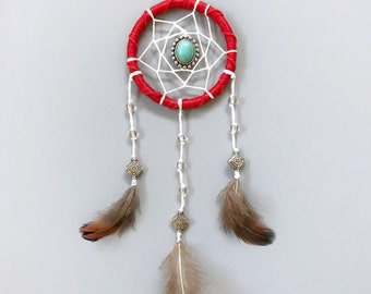 """2"""" Red, White, and Turquoise Mini Dream Catcher - gift for her, Valentine's Day gift"""