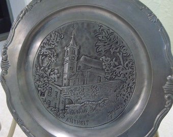 pewter plate,Etain,90% pewter,Made in France,Antheit, Belgium,travel souvenir,home decor,European pewter plate,scalloped border,ornate plate