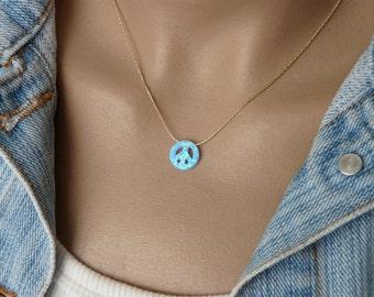 Peace sign necklace, Peace necklace, Peace sign, Opal peace sign necklace, Peace symbol, Peace jewelry, Peace sign pendant