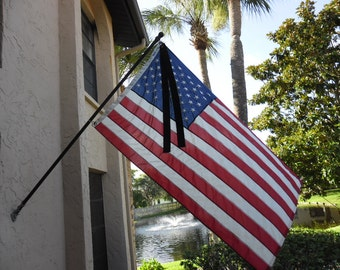 Black Mourning Ribbon ..for American Flag Half Staff Patriotic Display 3 x 5 Flag.......Free Shipping
