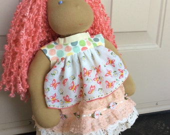 "peaches and cream, vintage hanky, shabby chic, ARTSY,  15-18"" doll clothes fit American Girl, Waldorf"