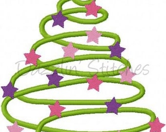 Christmas Embroidery Design Swirl Christmas Tree Digital Instant Download 4x4, 5x7 and 6x10