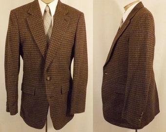 80's Oakton Brown Houndstooth Men's Boys Sport Coat Size 36  38