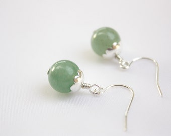 Jade Green Petal Earrings, Real Aventurine Stones, Semi Precious Stones, Silver Plated Petal Flowers, Sterling Silver, Ready to Ship