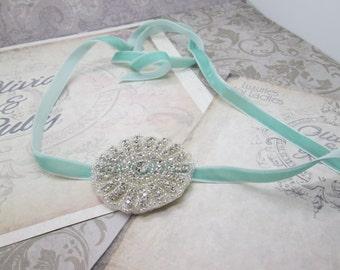 Velvet Ribbon Headband in Mint Green - Also wear as a Chocker, Bracelet, or Belt - Gatsby, 1920, Flapper with Crystal Applique