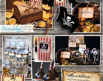 Pirate Birthday Party Collection - INSTANT DOWNLOAD - Editable & Printable Birthday Party Decorations by Sassaby Parties
