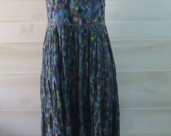 Vintage Sita Sleeveless Long Gathered Boho Hippie Dress Sundress 1980s Size Medium