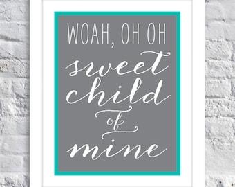Nursery Decor, Baby Room // Sweet Child of Mine - Child's Room Decor - Wall Art - BABY SHOWER Gift