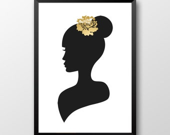 Gold print, Gold rose, Gold Home decor, Black and White prinatble art, Chick style digital art, Printable art 131